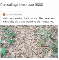 Af, Fake, and Friends: Camouflage level: over 9000  eeXOXOEmm  Main reason why I hate nature. The creatures  in it crafty af, snake would've bit tf outta me. That's how fake friends be blending into your friendship groups 👀⚠️ swipe it if ur not good at spotting them ⚠️👀
