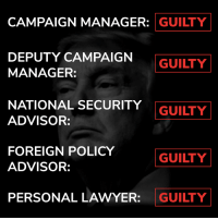 "Lawyer, Memes, and History: CAMPAIGN MANAGER: GUILTY  DEPUTY CAMPAIGN  MANAGER:  GUILTY!  NATIONAL SECURITY  ADVISOR:  GUILTY  FOREIGN POLICY  ADVISOR:  GUILTY  PERSONAL LAWYER: GUILTY Most successful ""witch hunt"" in human history. ⬇️"