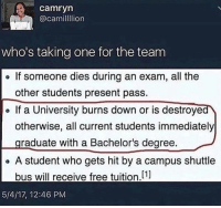 Free, Lion, and All The: camryn  @camil lion  who's taking one for the team  e If someone dies during an exam, all the  other students present pass.  If a University burns down or is destroyed  otherwise, all current students immediately  graduate with a Bachelor's degree.  o A student who gets hit by a campus shuttle  bus will receive free tuition,[1]  5/4/17, 12:46 PM