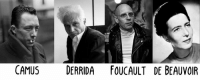 Say what you want about French Philosophers, but they took the absolute best glamour shots: CAMUS  DERRIDA FOUCAULT DE BEAUVOIR Say what you want about French Philosophers, but they took the absolute best glamour shots