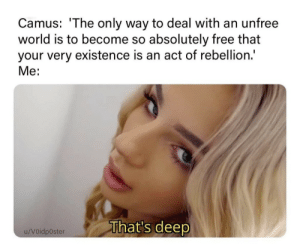 Thats Deep: Camus: 'The only way to deal with an unfree  world is to become so absolutely free that  your very existence is an act of rebellion.  Me:  That's deep  u/Voidposter