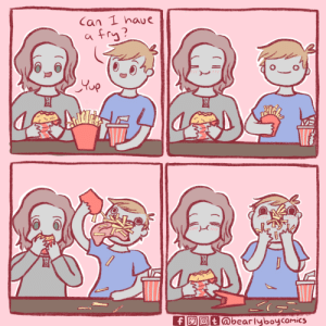 Just one! [OC]: Can 1 haue  fry?  up  ASTHL  f  @bearlyboycomics Just one! [OC]
