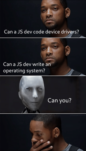 Dev, Code, and Can: Can a JS dev code device drivers?  Can a JS dev write an  operating system?  Can you? cause were different but were the same