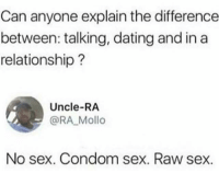 Condom, Dating, and Sex: Can anyone explain the difference  between: talking, dating and ina  relationship?  Uncle-RA  @RA Mollo  No sex. Condom sex. Raw sex. 😂😝😂