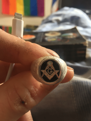Can anyone identify the symbol on this ring? Was given to me by a friend but I've not seen it: Can anyone identify the symbol on this ring? Was given to me by a friend but I've not seen it