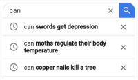 Target, Tumblr, and Blog: can  can swords get depression  can moths regulate their body  temperature  can copper nails kill a tree keplersheetz: Duck's search history, probably