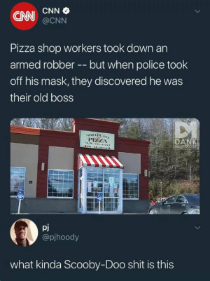 Plot twist that was just another costume: CAN  @CNN  Pizza shop workers took down an  armed robberbut when police took  off his mask, they discovered he was  their old boss  PHZA  ME  pj  @pjhoody  what kinda Scooby-Doo shit is this Plot twist that was just another costume