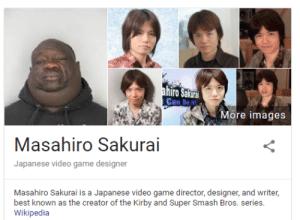 Smashing, Super Smash Bros, and Tumblr: Can Do t  More images  Masahiro Sakurai  Japanese video game designer  Masahiro Sakurai is a Japanese video game director, designer, and writer,  best known as the creator of the Kirby and Super Smash Bros. series.  Wikipedia shoesnow:  ndnprct3:  THAT'S NOT HIM WHO'S THAT  Umm