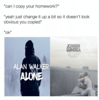 """Tips: @malinchanders: """"can I copy your homework?""""  """"yeah just change it up a bit so it doesn't look  obvious you copied""""  """"ok""""  JOAK  LUNDE  ALL INEED  ALAN WALKER Tips: @malinchanders"""