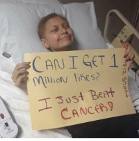 Amazing! Way to fight kid 💪🏻 GodIsGood ❤️: CAN I GET 1  millions likes?  T Just Beet  CANCER Amazing! Way to fight kid 💪🏻 GodIsGood ❤️