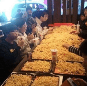 Can I get uhhhh 16 trays of fries?: Can I get uhhhh 16 trays of fries?