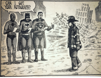 This comic appeared in the Daily News a few days after 9-11. In true New York fashion, the artist used humor in a tasteful and respectful way to cope with a tragedy (via SirAirick on Reddit): CAN I GET  YOUR AUTOGRAPH? This comic appeared in the Daily News a few days after 9-11. In true New York fashion, the artist used humor in a tasteful and respectful way to cope with a tragedy (via SirAirick on Reddit)
