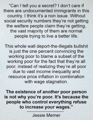 "Resource: ""Can I tell you a secret? I don't care if  there are undocumented immigrants in this  country. I think it's a non issue. Without  social security numbers they're not getting  the welfare people claim they're getting,  the vast majority of them are normal  people trying to live a better life.  This whole wall deport-the-illegals bullshit  is just the one percent convincing the  working poor to blame a subset of the  working poor for the fact that they're all  poor, instead of realizing they're all poor  due to vast income inequality and  resource price inflation in combination  with wage stagnation.  The existence of another poor person  is not why you're poor. It's because the  people who control everything refuse  to increase your wages.""  Jessie Memer"