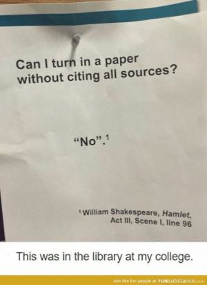 "College, Hamlet, and Shakespeare: Can I turn in a paper  without citing all sources?  ""No"".1  1 William Shakespeare, Hamlet,  Act IlII, Scene I, line 96  This was in the library at my college.  Join the fun people at FUNsubstance.com If you are a student Follow @studentlifeproblems​"