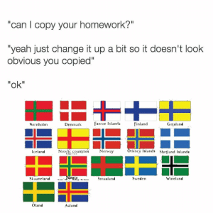 "Jesus, Wtf, and Yeah: ""can l copy your homework?""  ""yeah just change it up a bit so it doesn't look  obvious you copied""  ""ok""  Rornholm  Denmark  Faeroe Islands  Finland  Gotaland  Norlic countries  Norway  Orkney Islands Shetland Islands  Iceland  Sweden  Winelan<d  Oland  Aaland Jesus: Wtf guys, why you copy me."