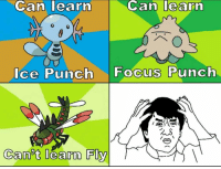 Can learn  Can learn  Ice Punch Focus Punch  Can't learn Fly Pokémon logic strikes again 😂 Sent in via DM by @grand_sonofbuzz who is now a FunnyPokemonAmbassador ! Thanks! ___________ Want to become an official FunnyPokemonAmbassador too? Then DM us your best and funniest pokemon memes to feature 😀 ___________ Pokemon Pokémon Nintendo GameFreak PokemonSunandMoon PokemonXY TeamValor TeamMystic TeamInstinct Funny FunnyMemes PokemonGo PokemonGoMemes PokemonMemes Pokemon20 Memes lol ポケットモンスター PokemonMaster PokemonTrainer PokemonFan Gaming GottaCatchemAll GamerLife pokemonlogic manga anime comics