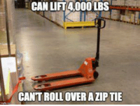 "Memes, Http, and Can: CAN LIT4 000 LBS  CANT ROLL OVER A ZIP TIE <p>Warehouse workers know this too well. via /r/memes <a href=""http://ift.tt/2G0tOWz"">http://ift.tt/2G0tOWz</a></p>"