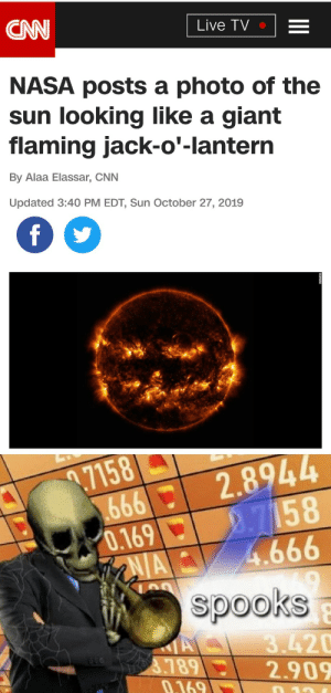 cnn.com, Halloween, and Memes: CAN  Live TV  NASA posts a photo of the  sun looking like a giant  flaming jack-o'-lantern  By Alaa Elassar, CNN  Updated 3:40 PM EDT, Sun October 27, 2019  f  69992.8944  2.7158  4.666  .7158  0.169  AIA  spooks  A  3.789  0.169  3.420  2.909  10 2 more days till halloween! via /r/memes https://ift.tt/2BWKQEY