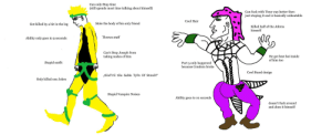 """Made the diavolo my self: Can only Stop time  (still spends most time talking about himself)  Can fuck with Time way better then  just stoping it and is basically unbeatable  Cool Hair  Stole the body of his only friend  Got killed by a hit in the leg  Killed half of the Jobros  himself  Throws stuff  Ability only goes to 9 seconds  Can't Stop Joseph from  taking nudes of him  He got best boi inside  of him too  Part 5 only happened  because Condom broke  Stupid outfit  Ч  Cool Stand design  """"tHeY'rE tHe SaMe TyPe Of StAnD!""""  Only killed one Jobro  Stupid Vampire Noises  Ability goes to 10 seconds  doesn't fuck around  and does it himself Made the diavolo my self"""