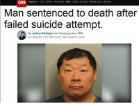 """Africa, cnn.com, and Tumblr: CAN Regions U.S. Africa l Americas Asia China Europe Middle East Opinion  Man sentenced to death after  suicide attempt.  failed  By Joshua Berlinger and Yoonjung Seo, CNN  O Updated 1122 GMT (1922 HKT) April 23, 2018 <p><a href=""""http://memehumor.net/post/173244791338/well-dont-just-give-it-to-him"""" class=""""tumblr_blog"""">memehumor</a>:</p>  <blockquote><p>Well don't just give it to him</p></blockquote>  <p>His face just says """"well, this works for me"""".</p>"""