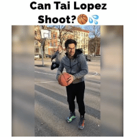 "Memes, 🤖, and Zack &: Can Tai Lopez  Shoot?  SOB Zack yelled ""Oh my hip..."" haha 😂... I'm not actually good at basketball, Zack just makes me look better than I am haha... zacksanklesinacast"