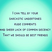 undertones: CAN TELL BY YOUR  SARCASTIC UNDERTONES  RUDE COMMENTS  AND SHEER LACK OF COMMON DECENCY  THAT WE SHOULD BE BEST FRIENDS