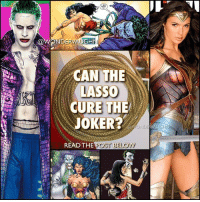 Batman, Dancing, and Joker: CAN THE  LASSO  CURE THE  JOKER?  AUG  OND  READ THE  POST BELOW IS THE JOKER TRUELY INSANE? * Among many of its abilities, the LASSO also radiates a magical aura called the Fires of Hestia that can restore lost memories, renew Diana's body, and EVEN CURE INSANITY. * It has been stated (although non-canon) that the Joker isn't really insane but just pretending. * Leto's Joker (similar to Ben's Batman) is a much older version of Joker than we have seen on film. He is at the apex of his insanity. Leto's Joker doesn't dance with the devil in the pale moon light (Nicholson) nor is he an agent of chaos (Ledger)...he is the devil dancing amidst the chaos. @gal_gadot @jaredleto * PERSONAL THOUGHTS: I don't believe the Joker is pretending to be insane. I do find him hopelessly insane, suffering from a deep rooted psychosis of insanity that's on another level entirely. I could see Wonder Woman's lasso restoring his sanity, and he would be repentant and try to make amends. But it wouldn't have any lasting effects once the lasso came off and the aura wears off. *** mywonderwoman girlpower women femaleempowerment MulherMaravilha MujerMaravilla galgadot unitetheleague princessdiana dianaprince amazons amazonwarrior manofsteel thedarkknight jaredleto insanity clownprinceofcrime lassooftruth magiclasso thekillingjoke