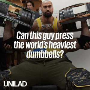 Dank, 🤖, and Can: Can this guypress  the world'sheaviest  dumbbells?  UNILAD This guy attempted to bench press the world's HEAVIEST dumbbells and made it look way too easy 😳😲