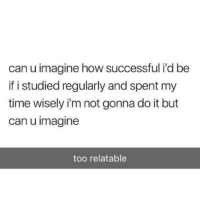 Funny Memes. Updated Daily! ⇢ FunnyJoke.tumblr.com 😀: can u imagine how successful i'd be  if i studied regularly and spent my  time wisely i'm not gonna do it but  can u imagine  too relatable Funny Memes. Updated Daily! ⇢ FunnyJoke.tumblr.com 😀