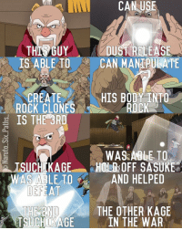 Bodies , Memes, and Bleach: CAN USE  THIS GUY  DUST RELEASE  IS ABLE TO  CAN MANIRULATE  CREATE  HIS BODY INTO  ROCK  ROCK CLONES  g IS THE 3RD  WAS ABLE TO  ISUCHIKAGE HOLM OFF SASUKE  WAS ABLE TO  AND HELPED  DEFEAT  THE OTHER KAGE  THE NO  TSUCHIKAGE  IN THE WAR Naruto edit of the Day: Onoki Edit🍃🍃🍃🍃Onoki is probably the least liked of the Kage, but he's a strong Shinobi💪 Q: Do you like Onoki? naruto narutoshippuden narutouzumaki sasuke sasukeuchiha sakura kakashi team7 konoha hokage uchiha minato itachi hinata obito anime manga bleach fairytail dbz