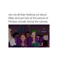 LOL: can we all stop freaking out about  Miley and just look at this picture of  Phineas actually facing the camera  EXIT LOL