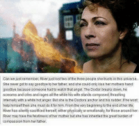 Doctor, Life, and Memes: Can we just remember, River just lost two of the three people she trusts in this universe.  She never got to say goodbye to her father, and she could only kiss her mothers hand  goodbye because someone had to watch that angel. The Doctor breaks down, he  screams and cries and rages all the while his wife stands composed, thrashing  internally with a white hot anger. But she is the Doctors anchor and his rudder. If he wont  help himself then she must do it for him. From the very beginning to the end of her life,  River has silently sacrificed herself, either physically or emotionally, for those around her  River may have the feistiness of her mother but she has inherited the great burden of  compassion from her father.