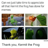 "Kermit the Frog, Memes, and Thank You: Can we just take time to appreciate  all that Kermit the frog has done for  memes  Thank you, Kermit the Frog <p>Kermit via /r/memes <a href=""http://ift.tt/2yZMT7M"">http://ift.tt/2yZMT7M</a></p>"