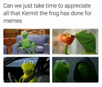 """Kermit the Frog, Memes, and Appreciate: Can we just take time to appreciate  all that Kermit the frog has done for  memes <p>Kermit Appreciation Post via /r/wholesomememes <a href=""""http://ift.tt/2iG5nSZ"""">http://ift.tt/2iG5nSZ</a></p>"""