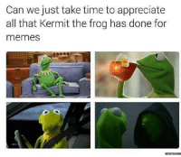 Thank you, Kermit the Frog: Can we just take time to appreciate  all that Kermit the frog has done for  memes  AN  memes  com Thank you, Kermit the Frog