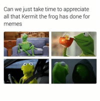 Kermit The Frogs: Can we just take time to appreciate  all that Kermit the frog has done for  memes