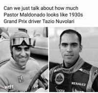 It's actually uncanny 😶 . . wtf1 wtf1official formula1 f1 motorsport maldonado crashtor: Can we just talk about how much  Pastor Maldonado looks like 1930s  Grand Prix driver Tazio Nuvolari  RENAULT  tf1 It's actually uncanny 😶 . . wtf1 wtf1official formula1 f1 motorsport maldonado crashtor
