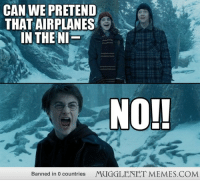 """Memes, Http, and Com: CAN WE PRETEND  THAT AIRPLANES  IN THE NI  NO!!  Banned in 0 countries  MUGGLENET MEMES.COM <p>NO!! <a href=""""http://ift.tt/1AAqfio"""">http://ift.tt/1AAqfio</a></p>"""