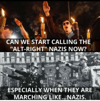 "CAN WE START CALLING THE  ""ALT-RIGHT"" NAZIS NOW?  ESPECIALLY WHEN THEY ARE  MARCHING LIKE NAZIS."
