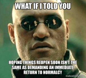 Can we stop downvoting people for wanting things to get back to normal quickly as long as it's safe? Not all of them are malicious idiots.: Can we stop downvoting people for wanting things to get back to normal quickly as long as it's safe? Not all of them are malicious idiots.