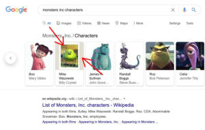 Can we talk about the fact that Mike Wazowski's Google picture is the meme version and not his real face?: Can we talk about the fact that Mike Wazowski's Google picture is the meme version and not his real face?