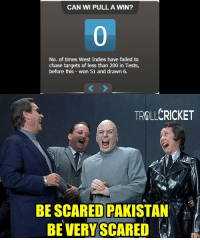 Fail, Memes, and Scare: CAN WI PULL A WIN?  No. of times West Indies have failed to  chase targets of less than 200 in Tests,  before this  won 51 and drawn 6.  TROLLCRICKET  BE SCARED PAKISTAN  BE VERY SCARED End of day 4  WI on the verge of a victory  They still need 39 runs to win with 5 wickets in hand   -Vardy