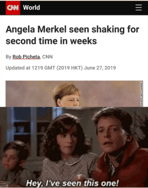 cnn.com, History, and Images: CAN World  Angela Merkel seen shaking for  second time in weeks  By Rob Picheta, CNN  Updated at 1219 GMT (2019 HKT) June 27, 2019  Hey, l've seen this one!  PA/AFPYGETTY IMAGES Insert Parkinsons