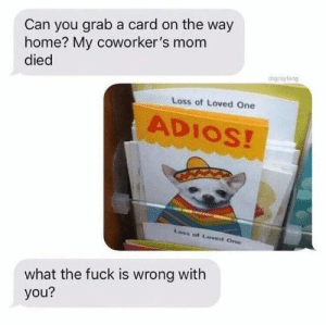 Fuck, Home, and Coworkers: Can you grab a card on the way  home? My coworker's mom  died  drgrayfang  Loss of Loved One  ADIOS!  Loss of Loved One  what the fuck is wrong with  you? What a great card