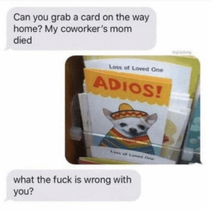 laughoutloud-club:  Adios: Can you grab a card on the way  home? My coworker's mom  died  gy  Loss of Loved One  ADIOS!  Loss of Loved One  what the fuck is wrong with  you? laughoutloud-club:  Adios