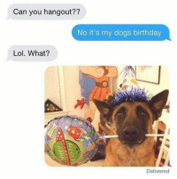 I'm a dog lover, but this might be a little far.... #fromafan: Can you hangout??  No it's my dogs birthday  Lol. What?  Delivered I'm a dog lover, but this might be a little far.... #fromafan