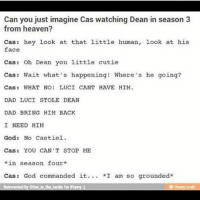 spn Supernatural spnfamily jaredpadalecki jensenackles mishacollins sam dean winchesters castiel destiel fandom ship otp: Can you just imagine Cas watching Dean in season 3  from heaven?  Cas: hey look at that little human, look at his  face  Cas Oh Dean you little cutie  Cas: Wait what's happening! Where's he going?  Cast WHAT NOI LUCI CANT HAVE HIM.  DAD LUCI STOLE DEAN  DAD BRING HIM BACK  I NEED HIM  God: No Castiel.  Cas YOU CAN'T STOP ME  *in season four  Cas God commanded it  *I am so grounded  Reinvented by otter in the tardis for  iFurry  eifunny mobi spn Supernatural spnfamily jaredpadalecki jensenackles mishacollins sam dean winchesters castiel destiel fandom ship otp