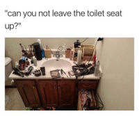 """Can, Seat, and You: """"can you not leave the toilet seat  up?"""" <p>&ldquo;Problemas de tener novia&rdquo; e ya</p>"""