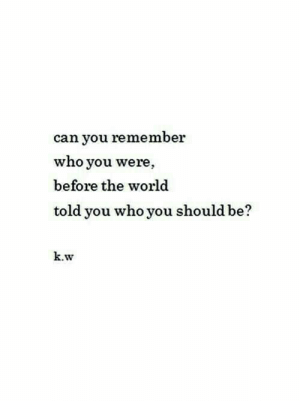 World, Who, and Can: can you remember  who you were,  before the world  told you who you should be?  k.w