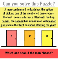Can you solve this puzzle?: Can you solve this Puzzle?  A man condemned to death has the option  of picking one of the mentioned three rooms.  The first room is a furnace filled with feeding  flames, the second has armed men with loaded  guns while the third has lions starving for years.  Which one should the man choose? Can you solve this puzzle?